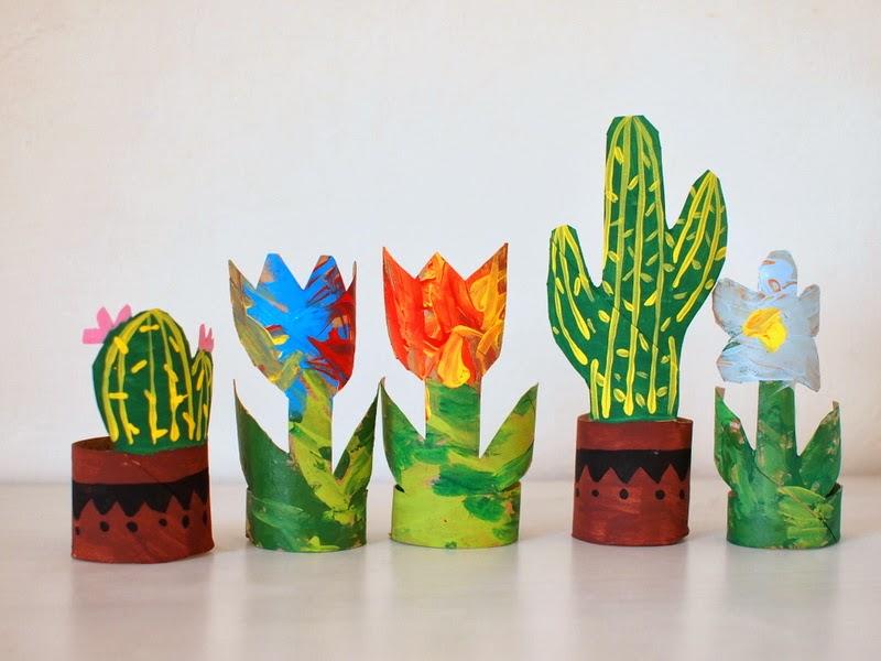 Cardboard Tube Flowers and Cacti