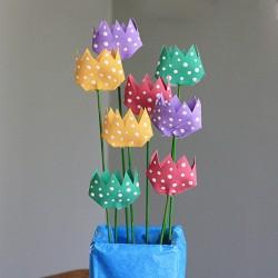 Polka Dot Cardboard Tube Tulips