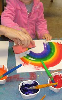 Rainbow Sponge Painting