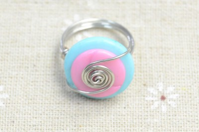 Wire-Wrapped Button Ring