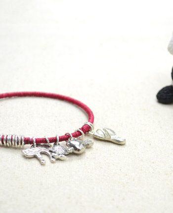 Floss-Wrapped Bangle Charm Bracelet