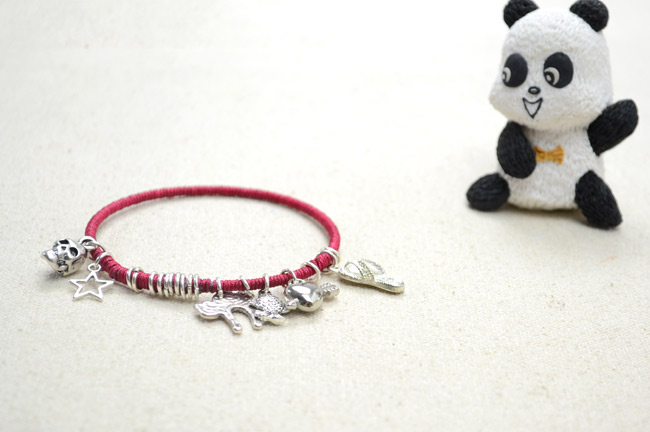 Floss-Wrapped Bangle Charm Bracelet