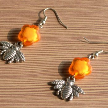 Flower and Bee Earrings