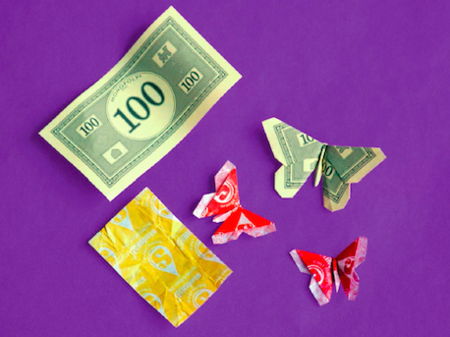Candy Wrapper Origami Butterflies