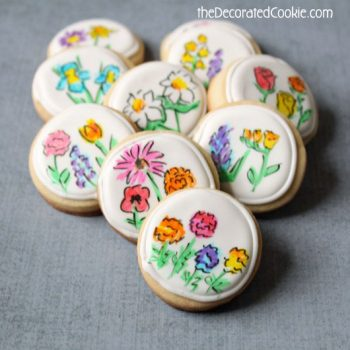 Hand-Drawn Flower Cookies