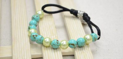 Adjustable Turquoise and Pearl Bracelet
