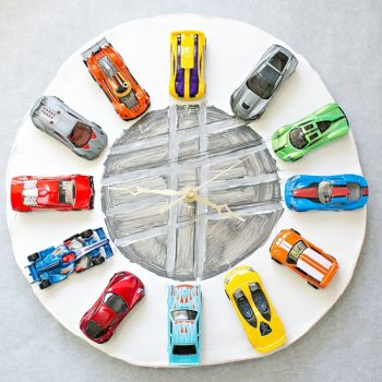 Car Clock with Interchangeable Wheels