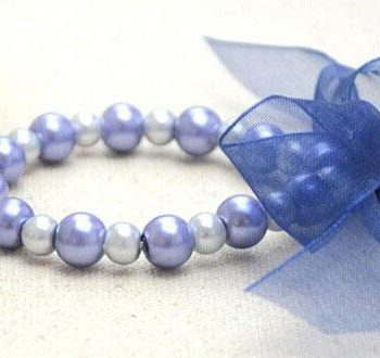 Elastic Pearl Bracelet with Ribbon