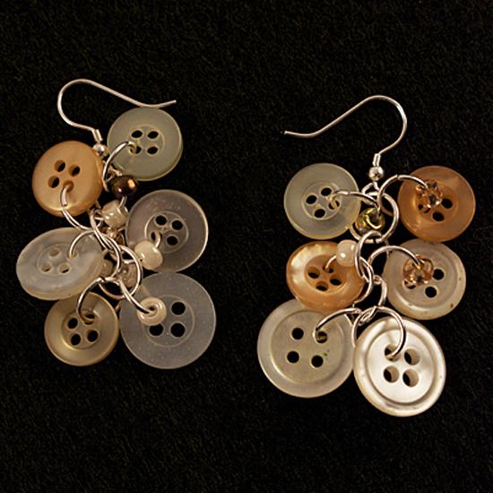 Dangling Antique Button Earrings