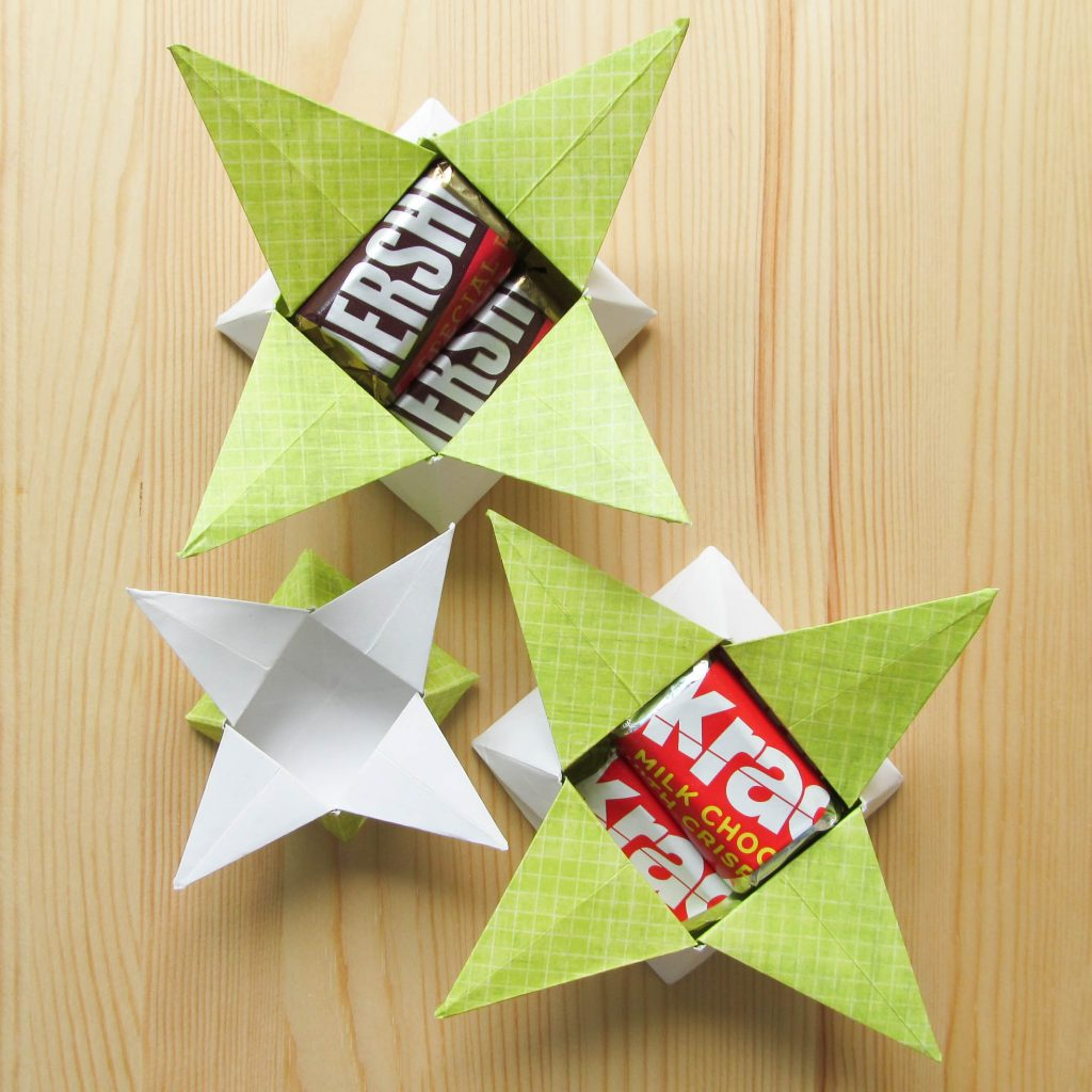 Four- Point Star Origami Treat Box