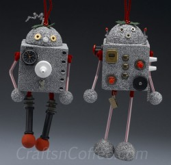 Recycled Robot Ornaments