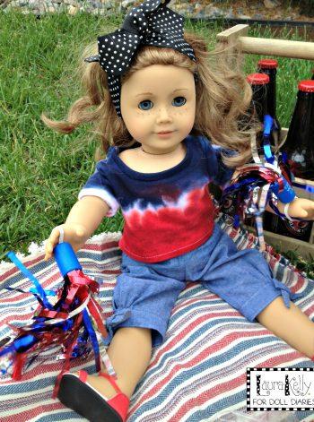 Doll-Sized Patriotic Tie-Dye Tees