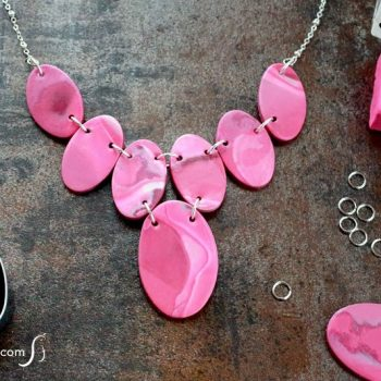 Faux Stone Clay Necklace