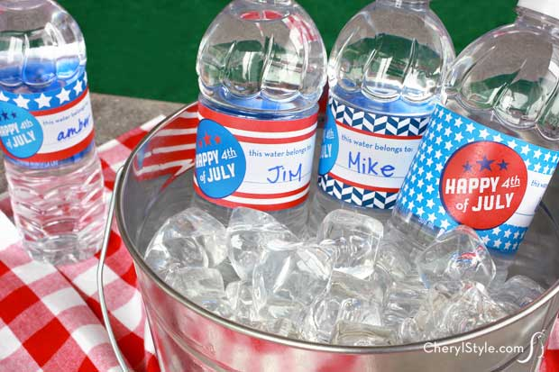 Printable July 4th Water Bottle Labels
