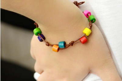 Knotted Wooden Bead Bracelet
