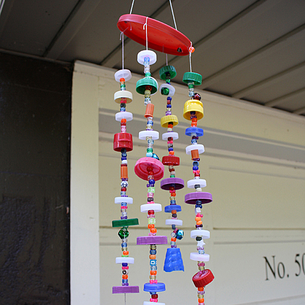 Recycled Plastic Lid Wind Chime Fun Family Crafts