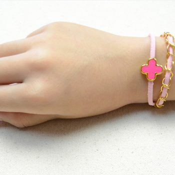 Leather Bracelet with Chains and Bead