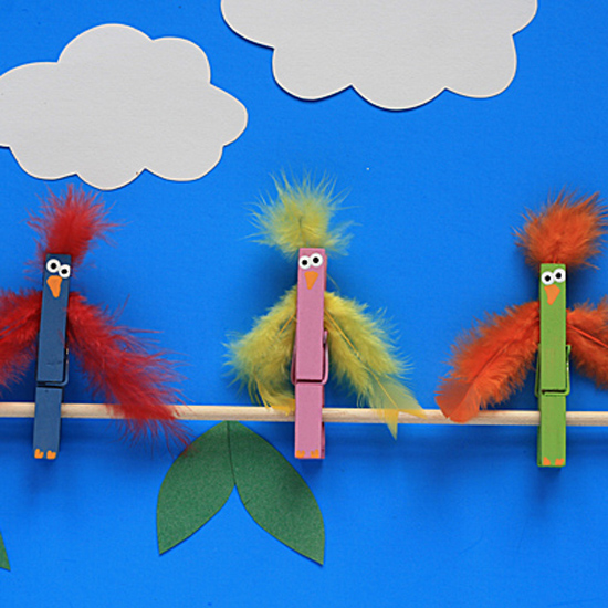 Clothespin Birds on a Branch
