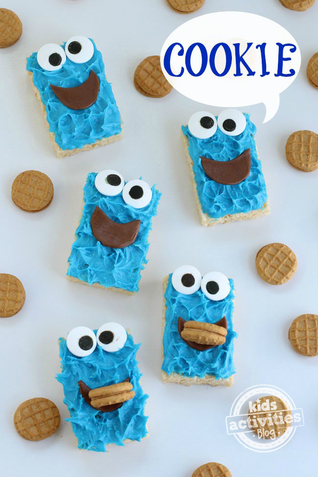 Cookie Monster Rice Krispie Treats Fun Family Crafts