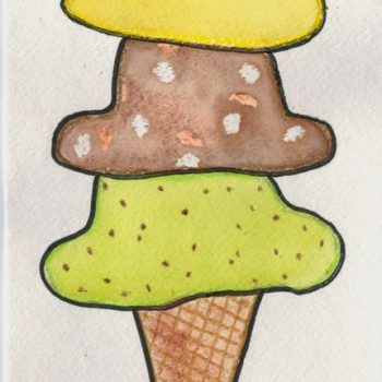 Wax-Resist Watercolor Ice Cream