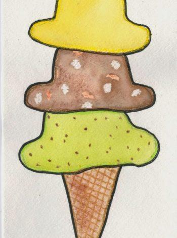 Wax-Resist Watercolor Ice Cream