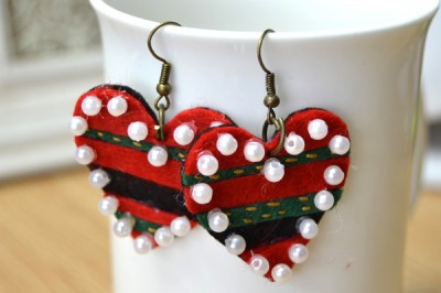 Embellished Felt Heart Earrings