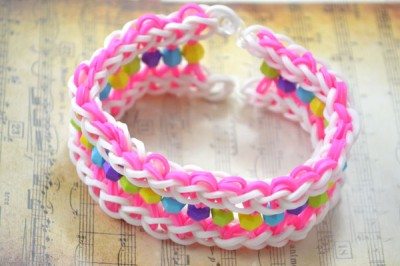 Wide Loom Bracelet with Beads