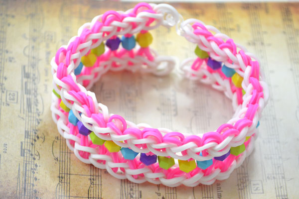 Wide Loom Bracelet With Beads Fun Family Crafts