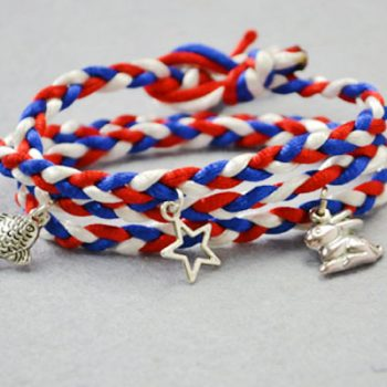 Red, White and Blue Braid Bracelet