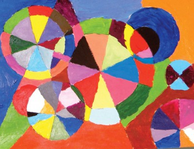 Delaunay-Inspired Color Wheel Painting