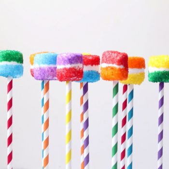 Rainbow Stripe Marshmallow Pops