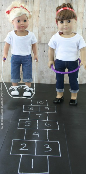 Doll-Size Jumprope, Hula Hoop, and Hop Scotch