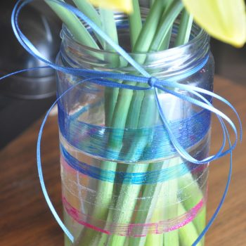 Glass Jar Glitter-Striped Vase