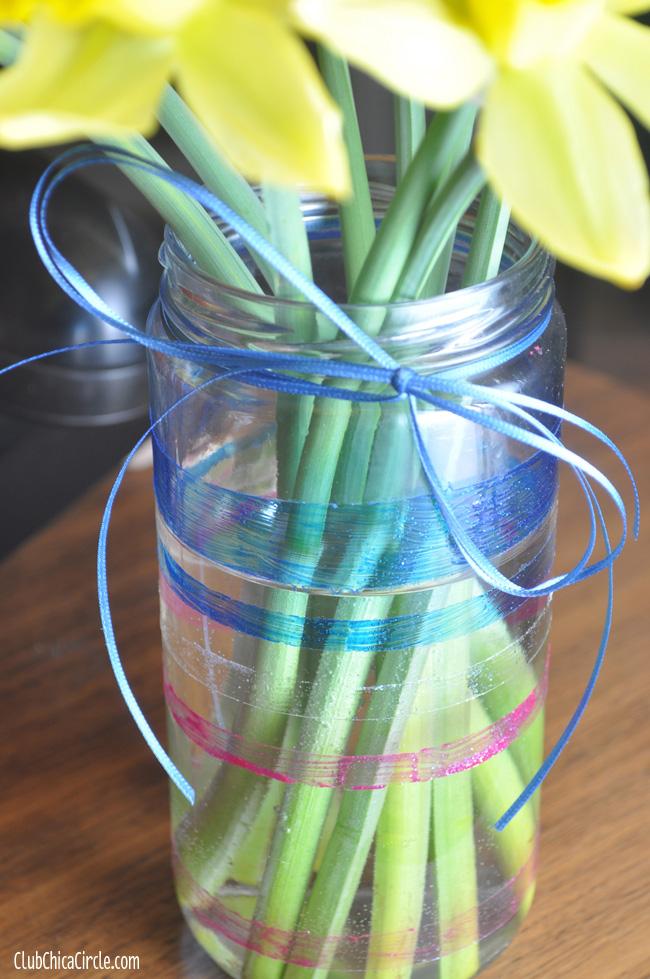 Glass Jar Glitter Striped Vase