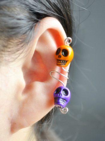 Wire Skull Ear Cuff