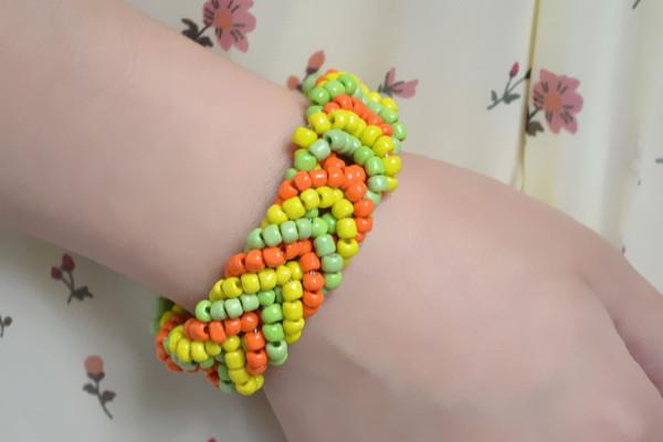 Braided Pony Bead Cuff Bracelet