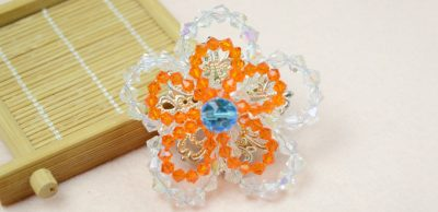 Double Crystal Flower Brooch