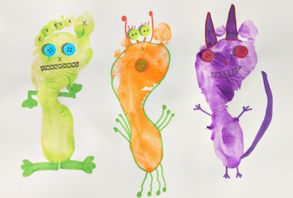 Monster Footprint Art Fun Family Crafts
