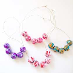 Clay Wooden Bead Necklaces