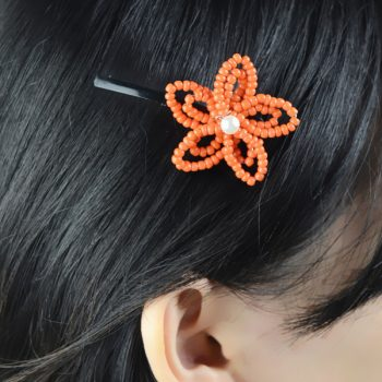 Orange Flower Hair Clip