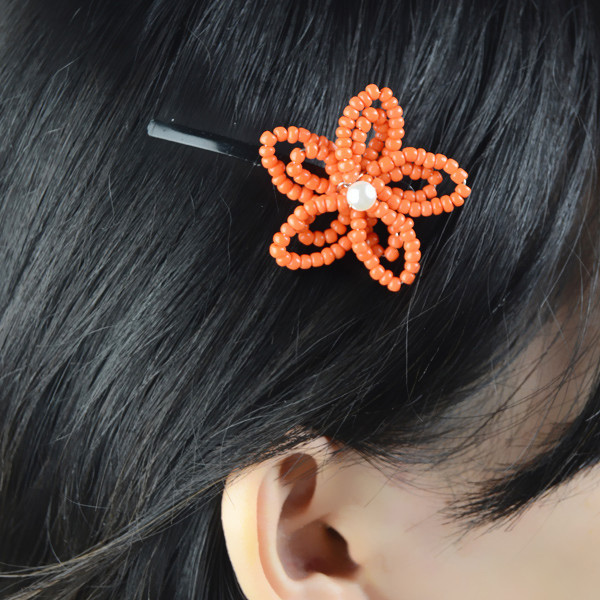 orange flower hair clip fun family crafts