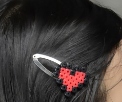 Perler Bead Heart Hair Clips