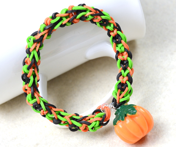 Rubber Band Bracelet with Pumpkin