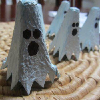 Egg Carton Ghost Finger Puppet