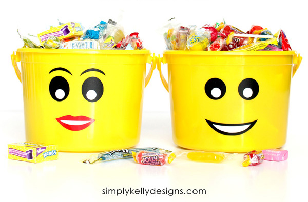 LEGO-Inspired Trick-or-Treat Buckets