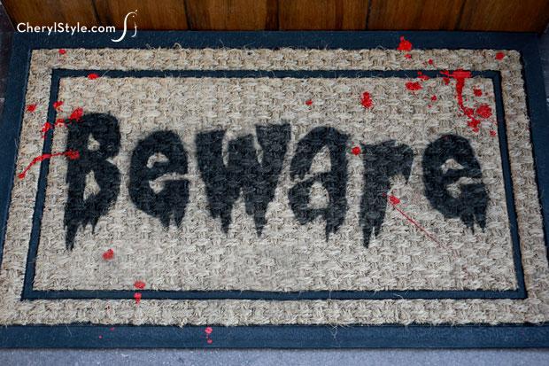 Halloween 'Beware' Doormat