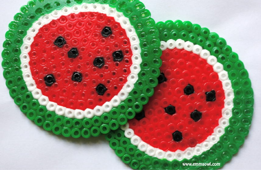 hanprint art for valentine's day - Watermelon Melty Bead Coasters