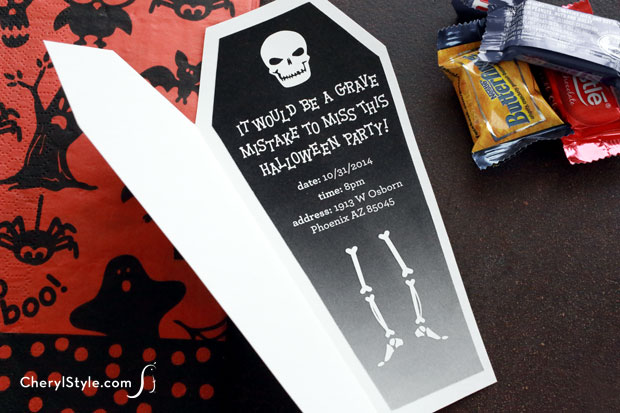 Halloween Coffin Invitations
