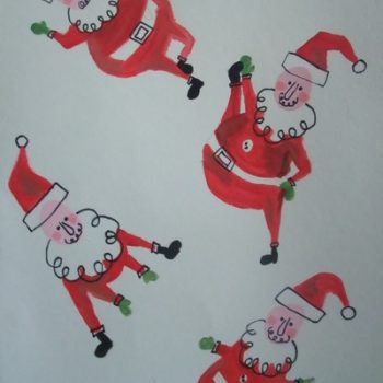 Thumbprint Stretching Santas
