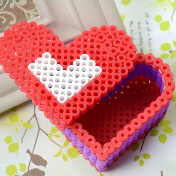 Perler Bead Red Heart Box